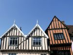 Crooked rooftops in Lavenham, Suffolk.