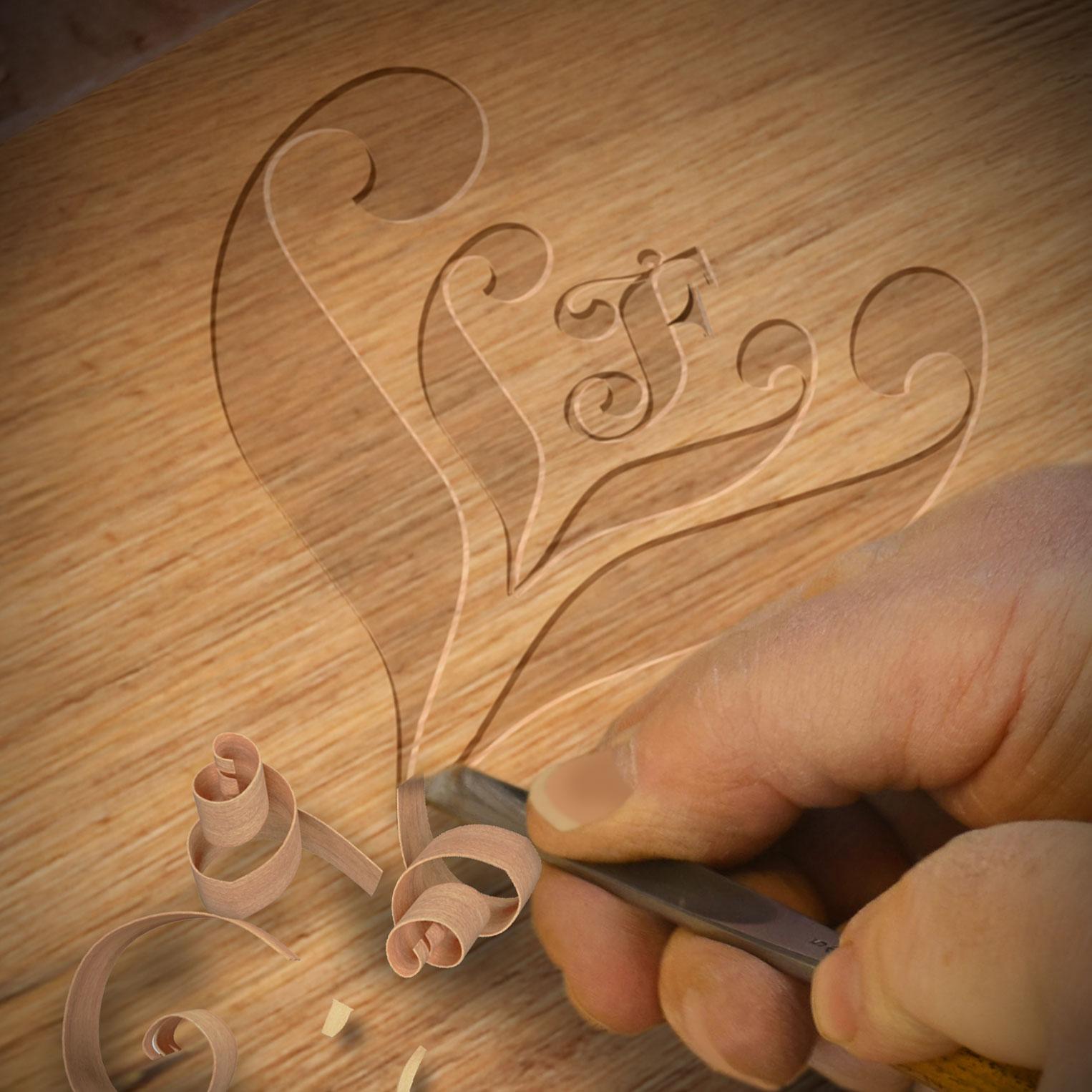 LLF logo in wood